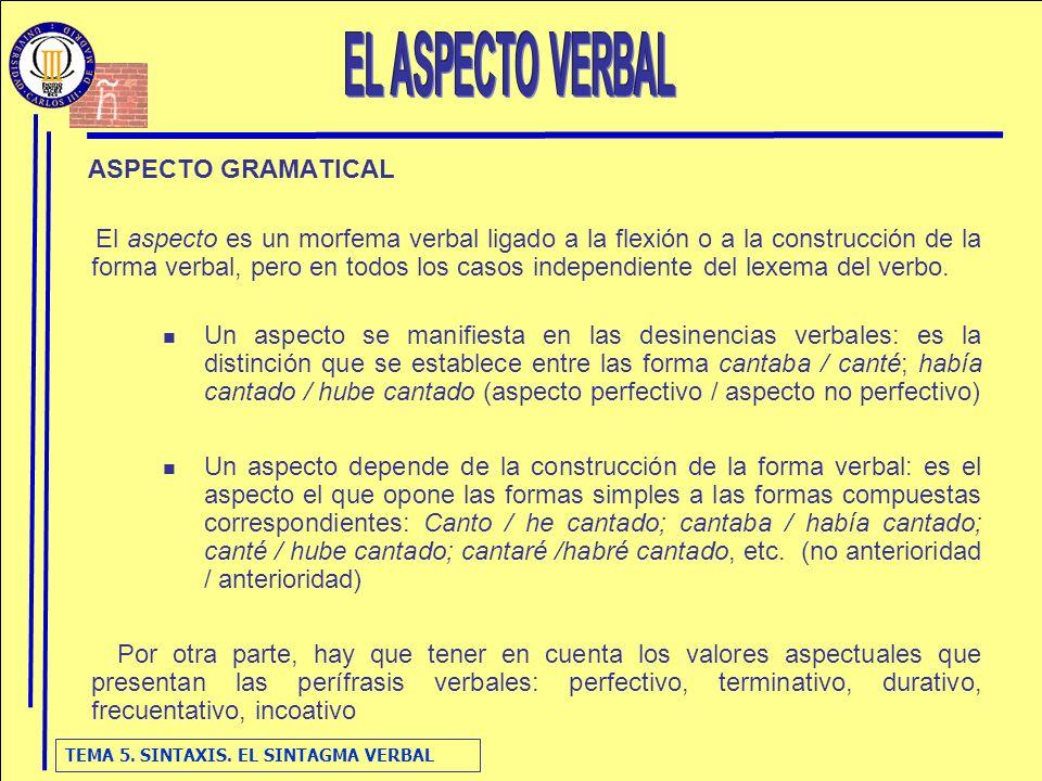 EL ASPECTO VERBAL ASPECTO GRAMATICAL