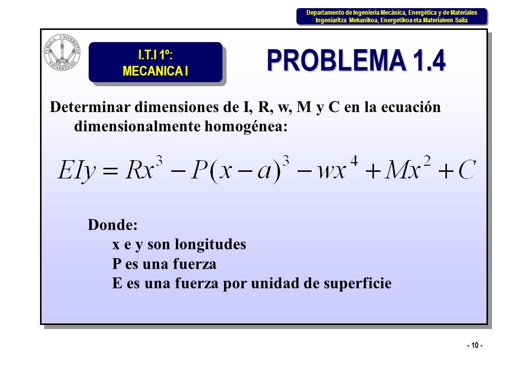 PROBLEMA 1.4 Determinar dimensiones de I, R, w, M y C en la ecuación dimensionalmente homogénea: Donde: