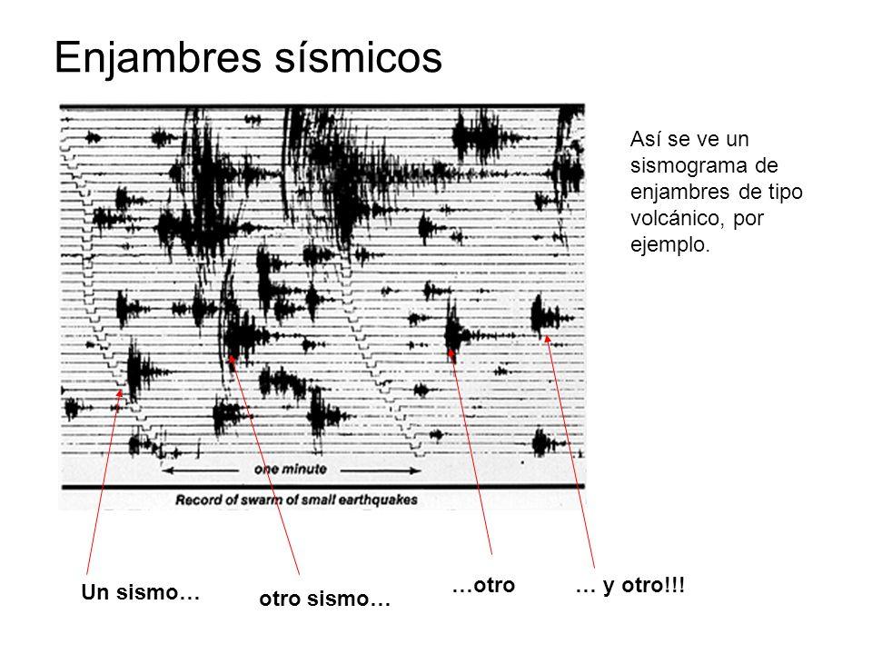 Enjambres sísmicos Así se ve un sismograma de enjambres de tipo volcánico, por ejemplo. …otro. … y otro!!!