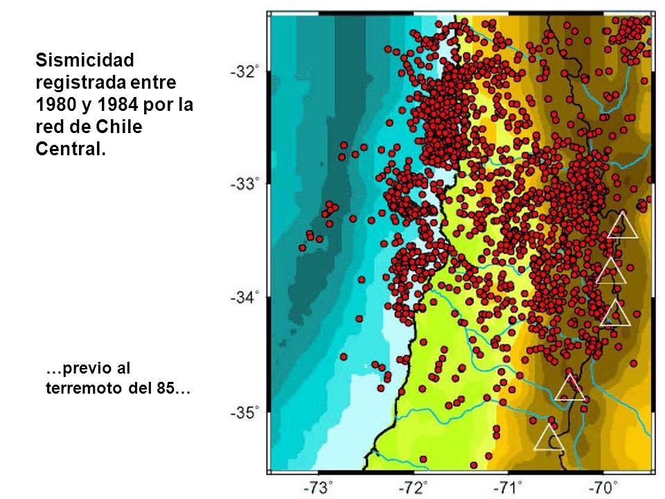 Sismicidad registrada entre 1980 y 1984 por la red de Chile Central.