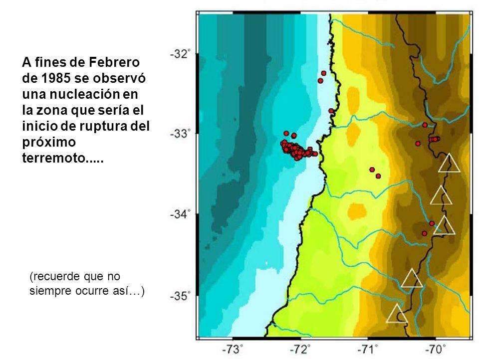 A fines de Febrero de 1985 se observó una nucleación en la zona que sería el inicio de ruptura del próximo terremoto.....