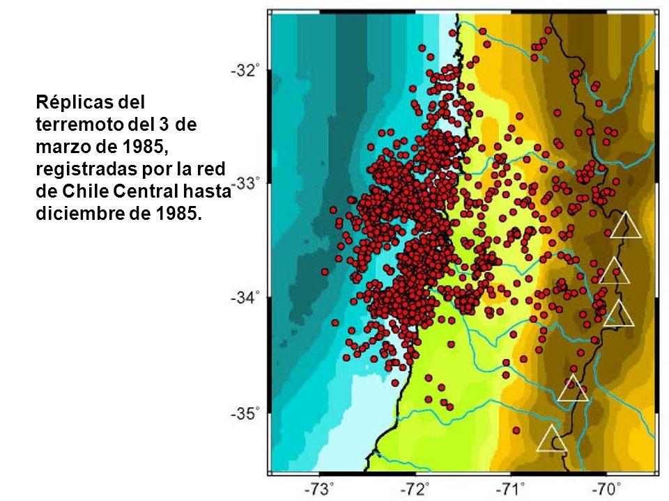 Réplicas del terremoto del 3 de marzo de 1985, registradas por la red de Chile Central hasta diciembre de 1985.
