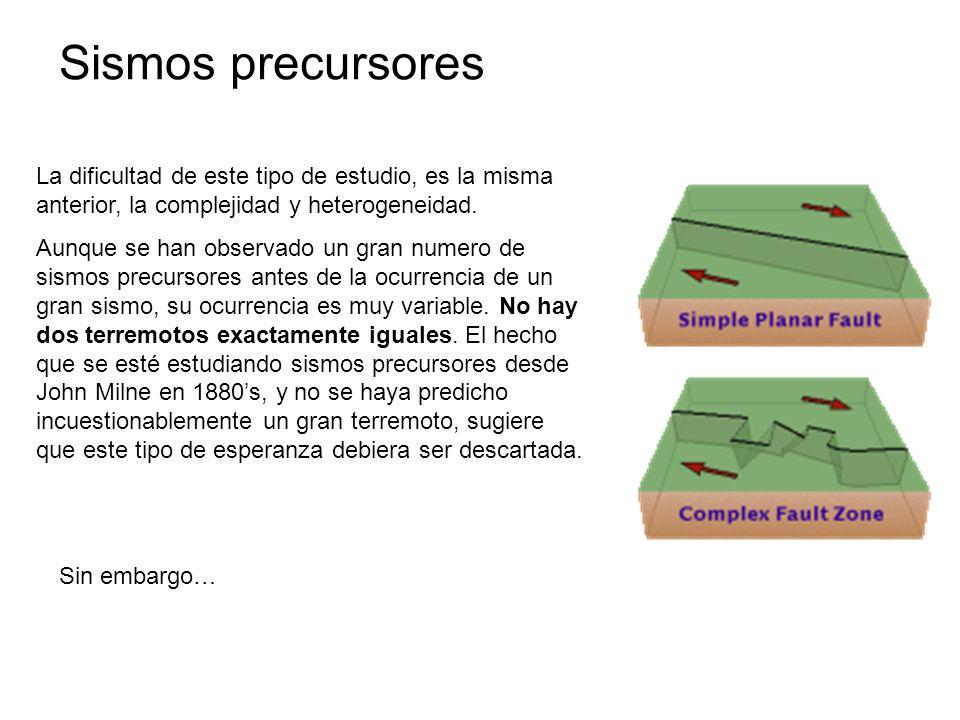 Sismos precursores La dificultad de este tipo de estudio, es la misma anterior, la complejidad y heterogeneidad.