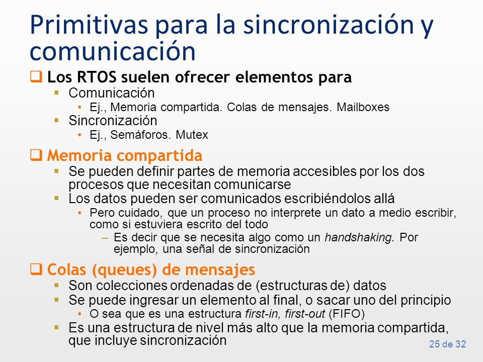 Primitivas para la sincronización y comunicación