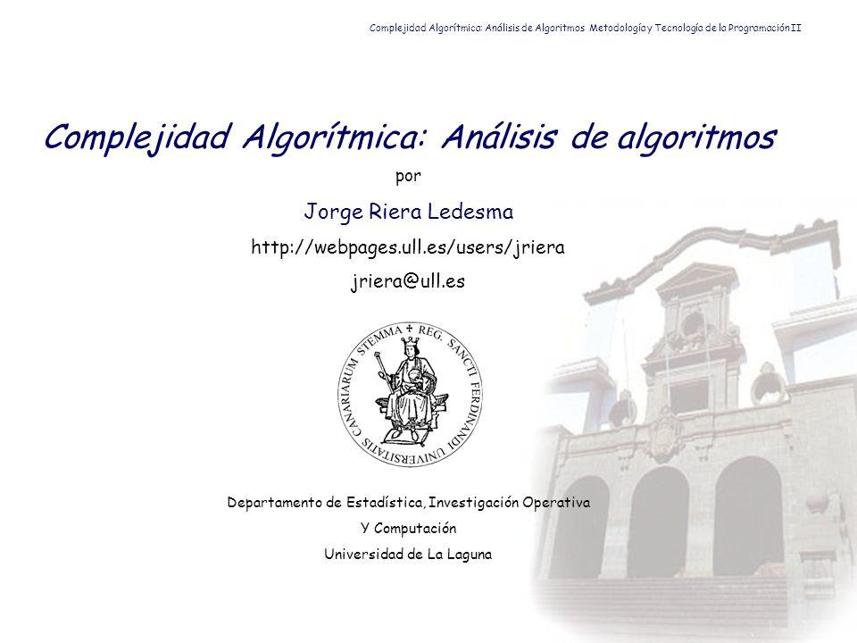 Complejidad Algorítmica: Análisis de algoritmos