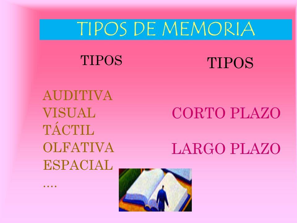 TIPOS DE MEMORIA TIPOS CORTO PLAZO LARGO PLAZO TIPOS AUDITIVA VISUAL