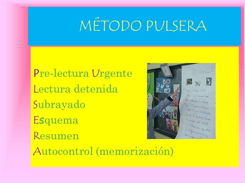 MÉTODO PULSERA Pre-lectura Urgente Lectura detenida Subrayado Esquema