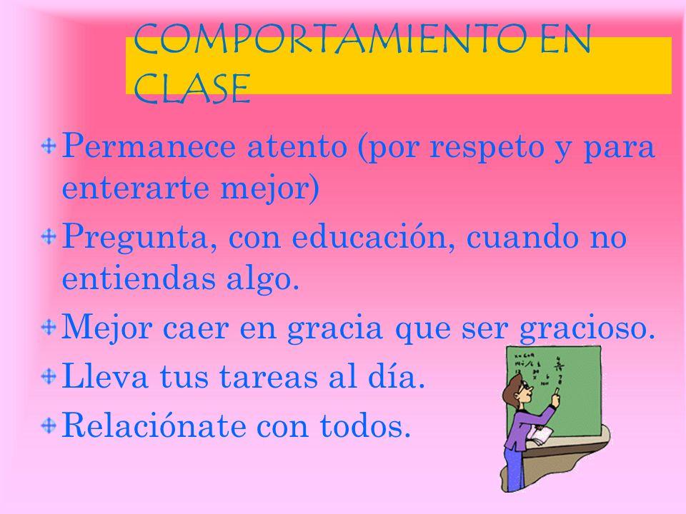 COMPORTAMIENTO EN CLASE