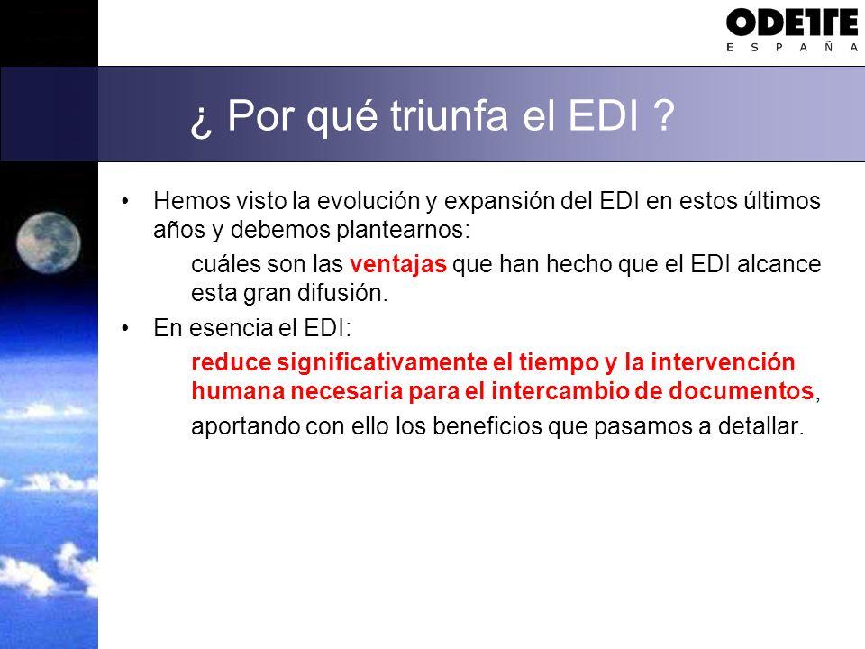 ¿ Por qué triunfa el EDI Hemos visto la evolución y expansión del EDI en estos últimos años y debemos plantearnos: