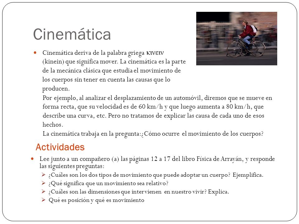 Cinemática Actividades