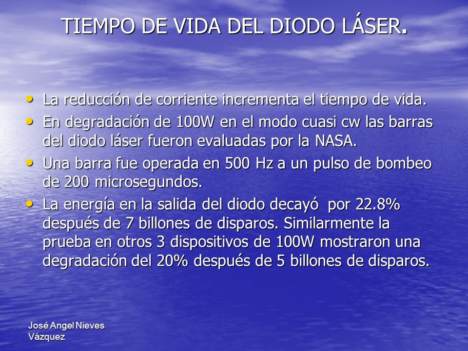 TIEMPO DE VIDA DEL DIODO LÁSER.