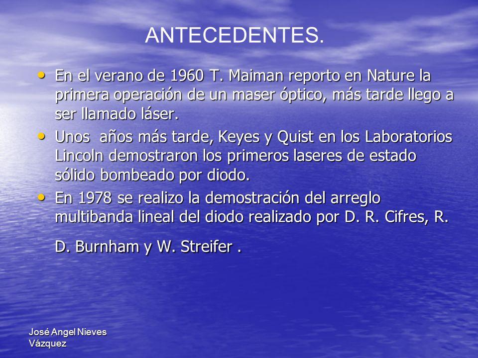 ANTECEDENTES. En el verano de 1960 T. Maiman reporto en Nature la primera operación de un maser óptico, más tarde llego a ser llamado láser.