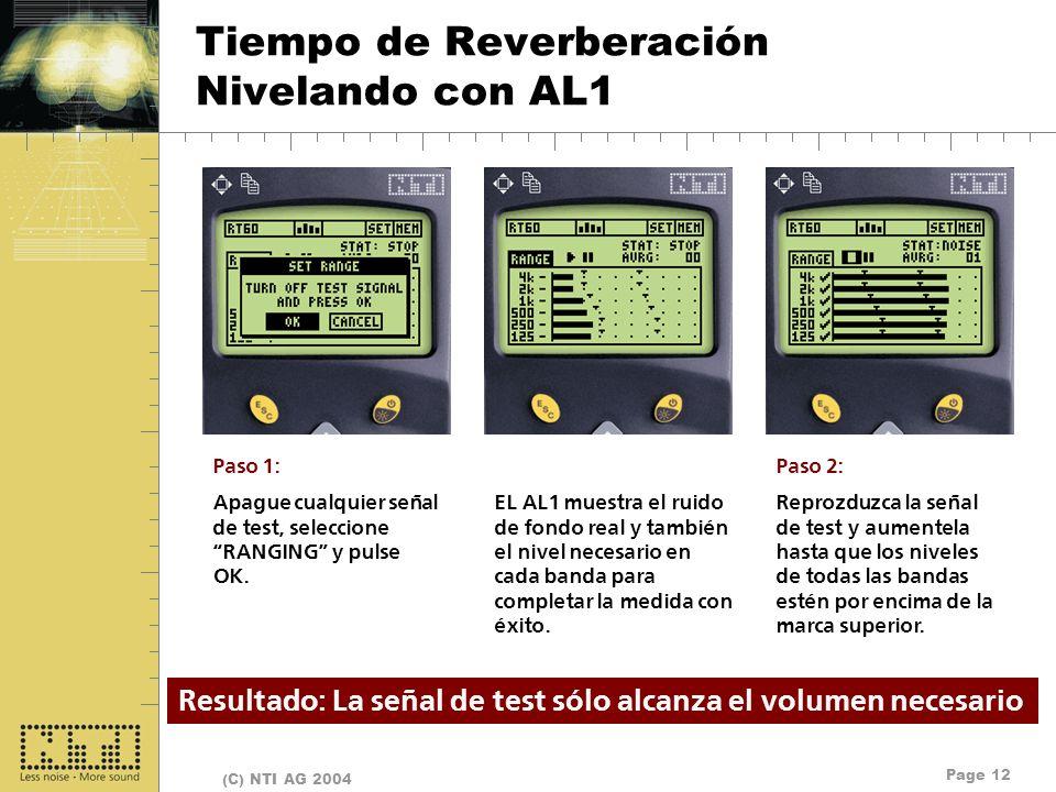 Tiempo de Reverberación Nivelando con AL1