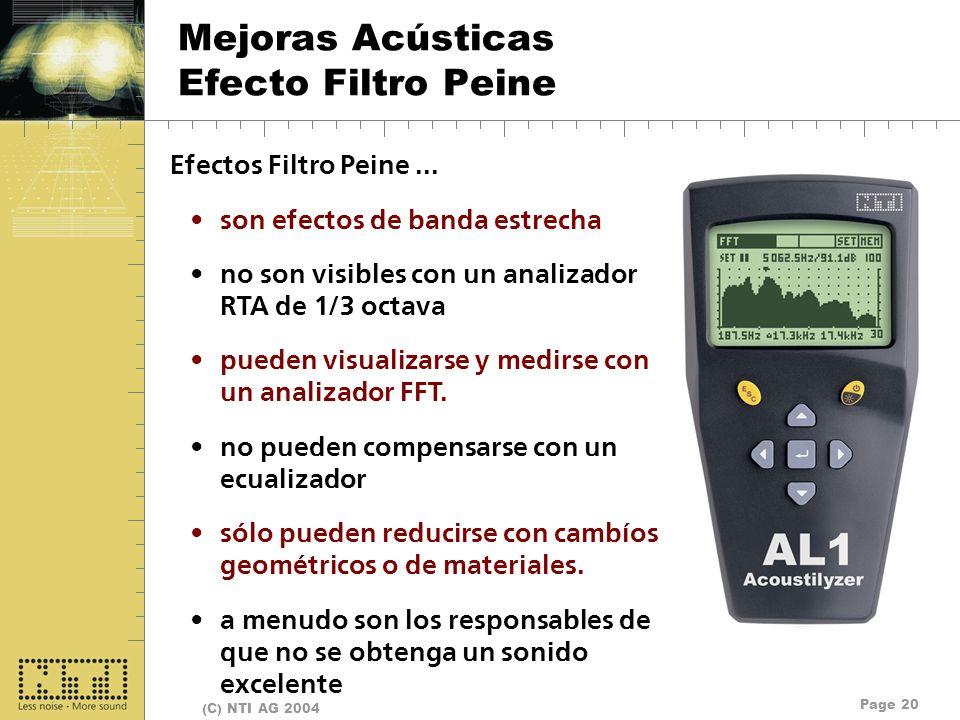 Mejoras Acústicas Efecto Filtro Peine