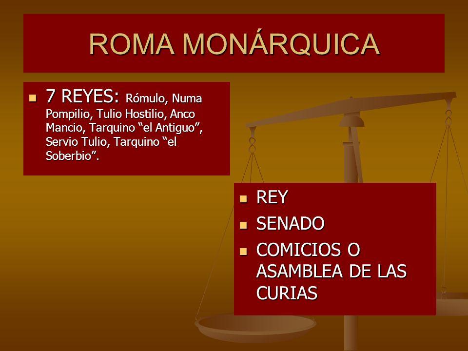 ROMA MONÁRQUICA 7 REYES: Rómulo, Numa Pompilio, Tulio Hostilio, Anco Mancio, Tarquino el Antiguo , Servio Tulio, Tarquino el Soberbio .