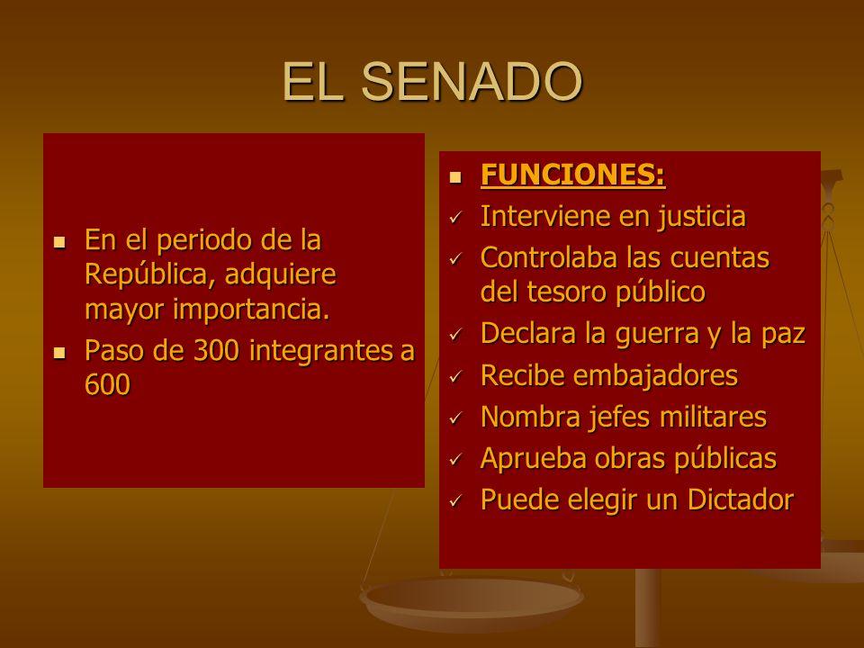 EL SENADO FUNCIONES: Interviene en justicia