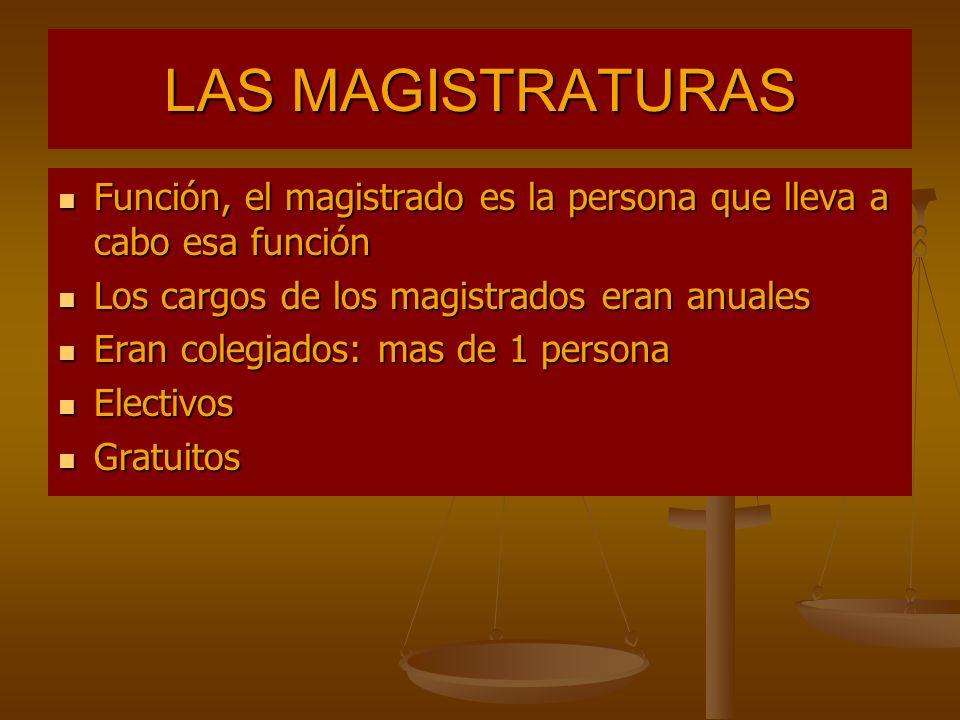 LAS MAGISTRATURAS Función, el magistrado es la persona que lleva a cabo esa función. Los cargos de los magistrados eran anuales.