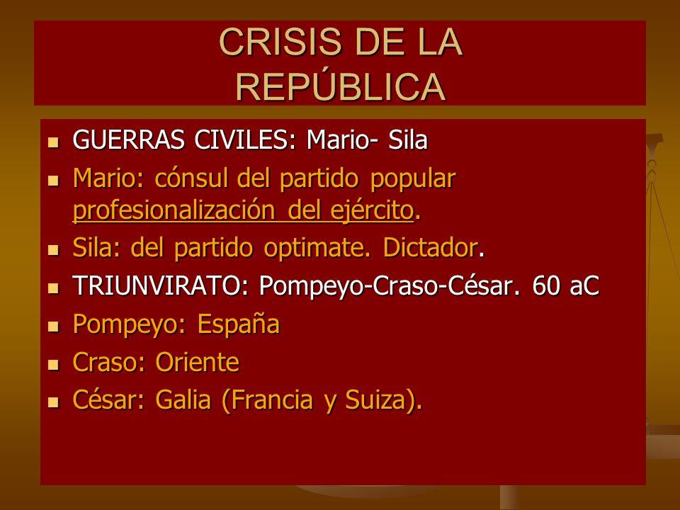 CRISIS DE LA REPÚBLICA GUERRAS CIVILES: Mario- Sila