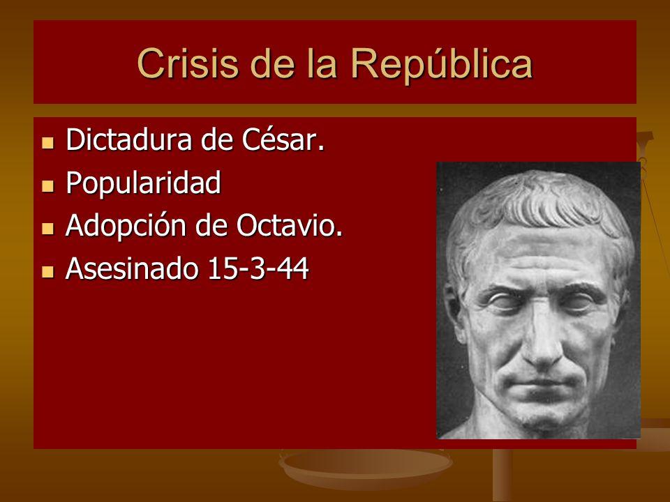 Crisis de la República Dictadura de César. Popularidad