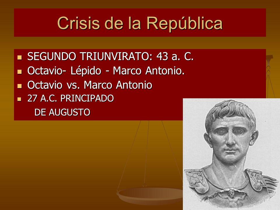 Crisis de la República SEGUNDO TRIUNVIRATO: 43 a. C.