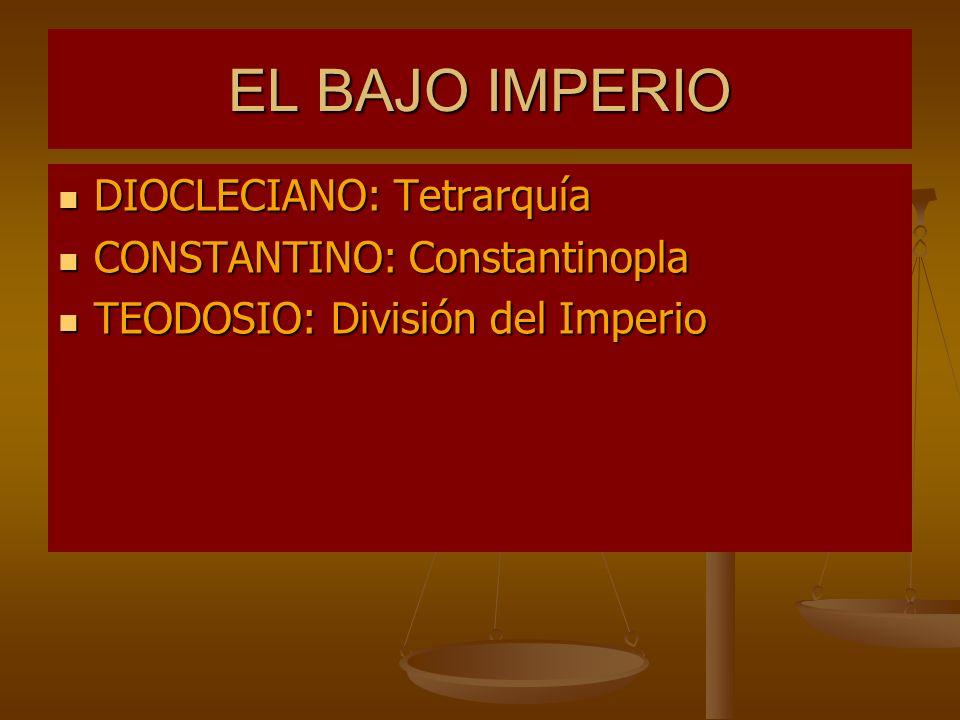 EL BAJO IMPERIO DIOCLECIANO: Tetrarquía CONSTANTINO: Constantinopla