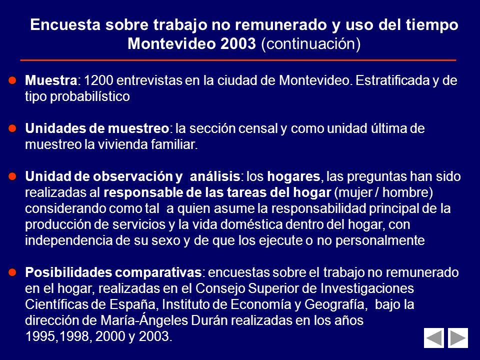 Encuesta sobre trabajo no remunerado y uso del tiempo Montevideo 2003 (continuación)