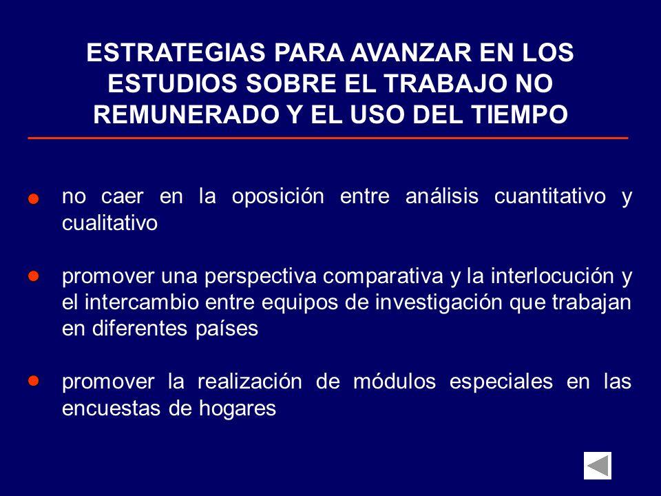 ESTRATEGIAS PARA AVANZAR EN LOS ESTUDIOS SOBRE EL TRABAJO NO REMUNERADO Y EL USO DEL TIEMPO