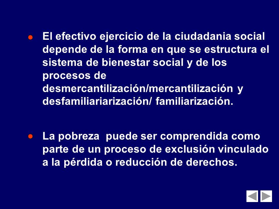 El efectivo ejercicio de la ciudadania social depende de la forma en que se estructura el sistema de bienestar social y de los procesos de desmercantilización/mercantilización y desfamiliariarización/ familiarización.