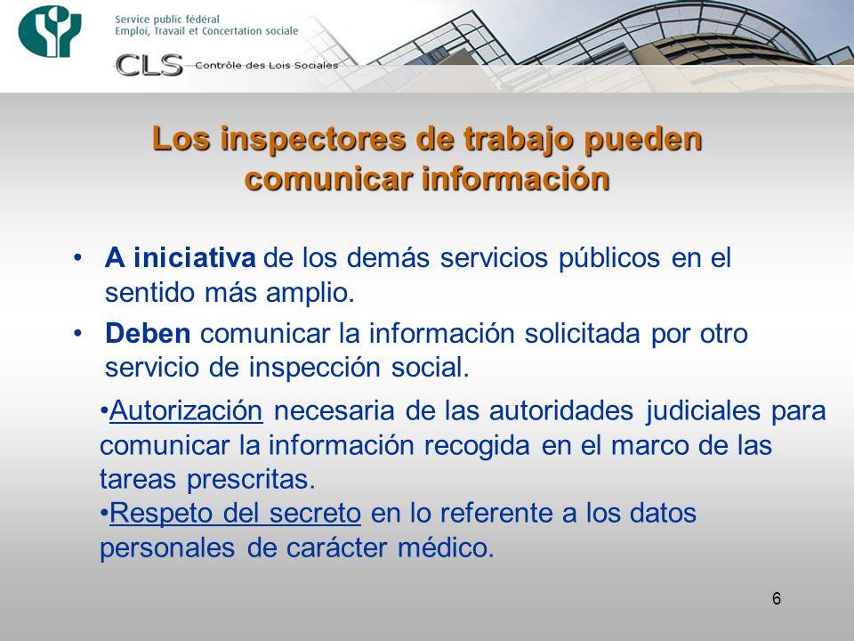 Los inspectores de trabajo pueden comunicar información