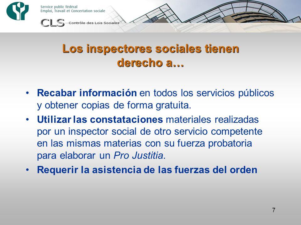 Los inspectores sociales tienen derecho a…