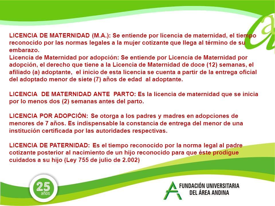LICENCIA DE MATERNIDAD (M. A
