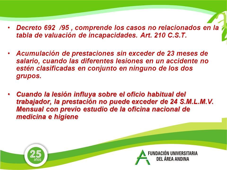 Decreto 692 /95 , comprende los casos no relacionados en la tabla de valuación de incapacidades. Art. 210 C.S.T.