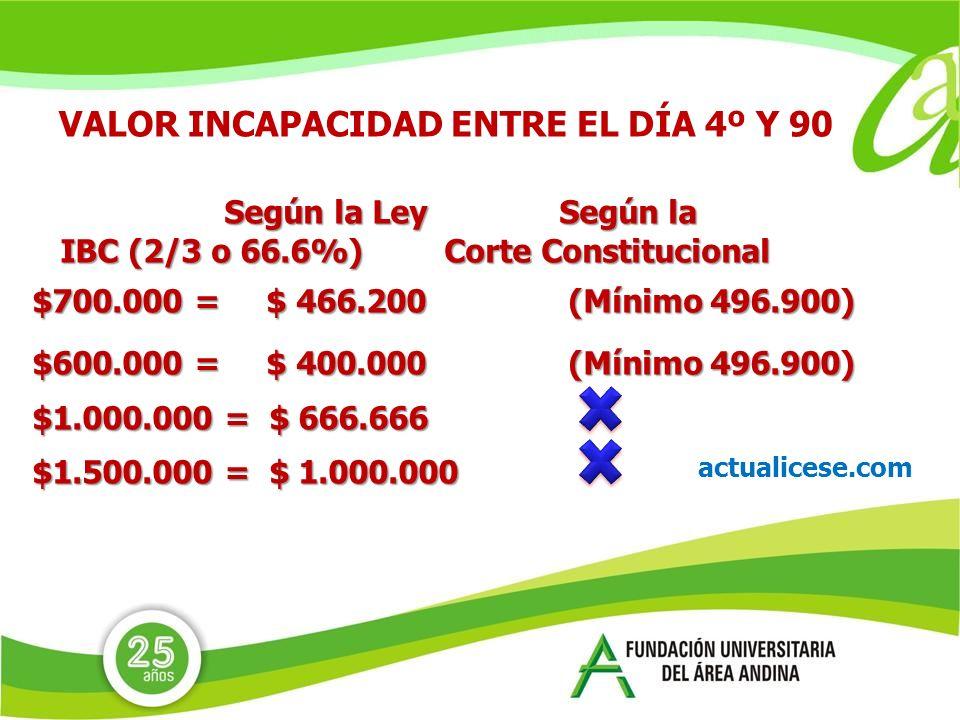 VALOR INCAPACIDAD ENTRE EL DÍA 4º Y 90