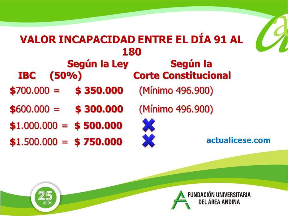 VALOR INCAPACIDAD ENTRE EL DÍA 91 AL 180