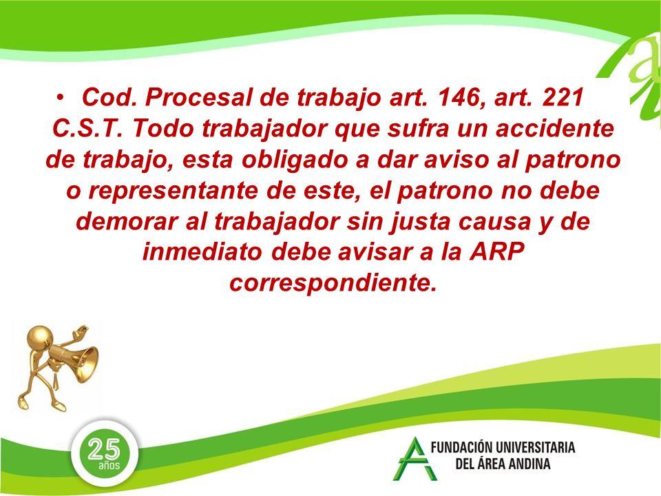 Cod. Procesal de trabajo art. 146, art. 221 C. S. T