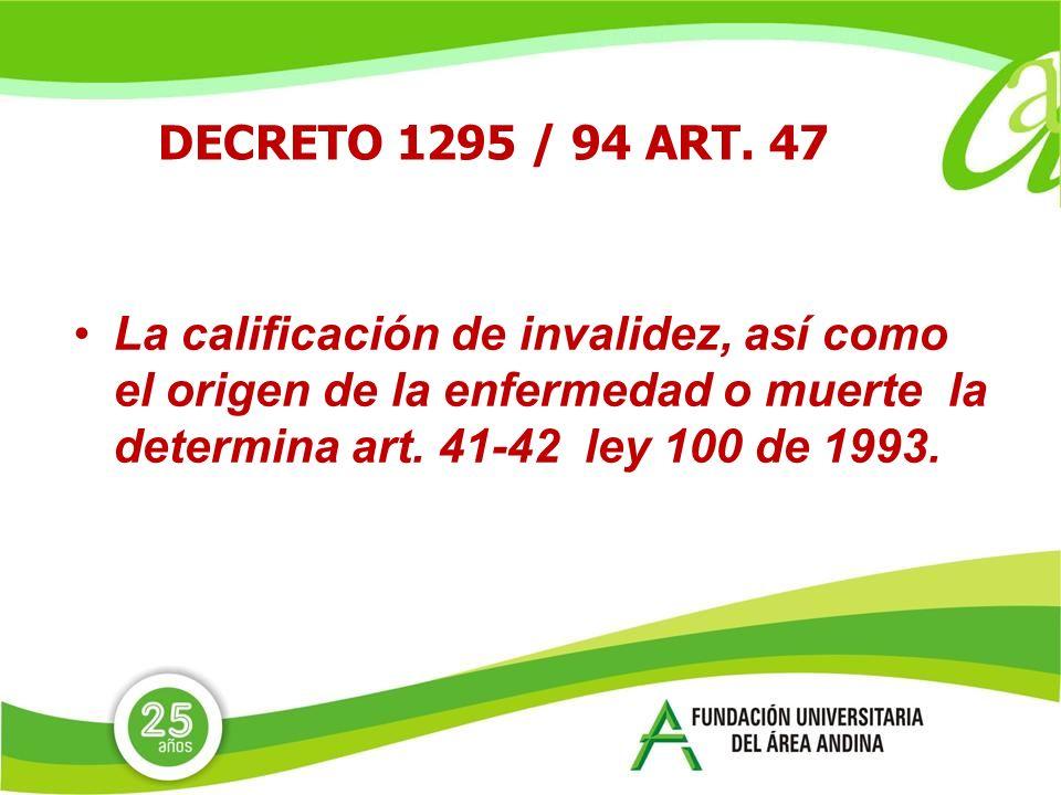 DECRETO 1295 / 94 ART.