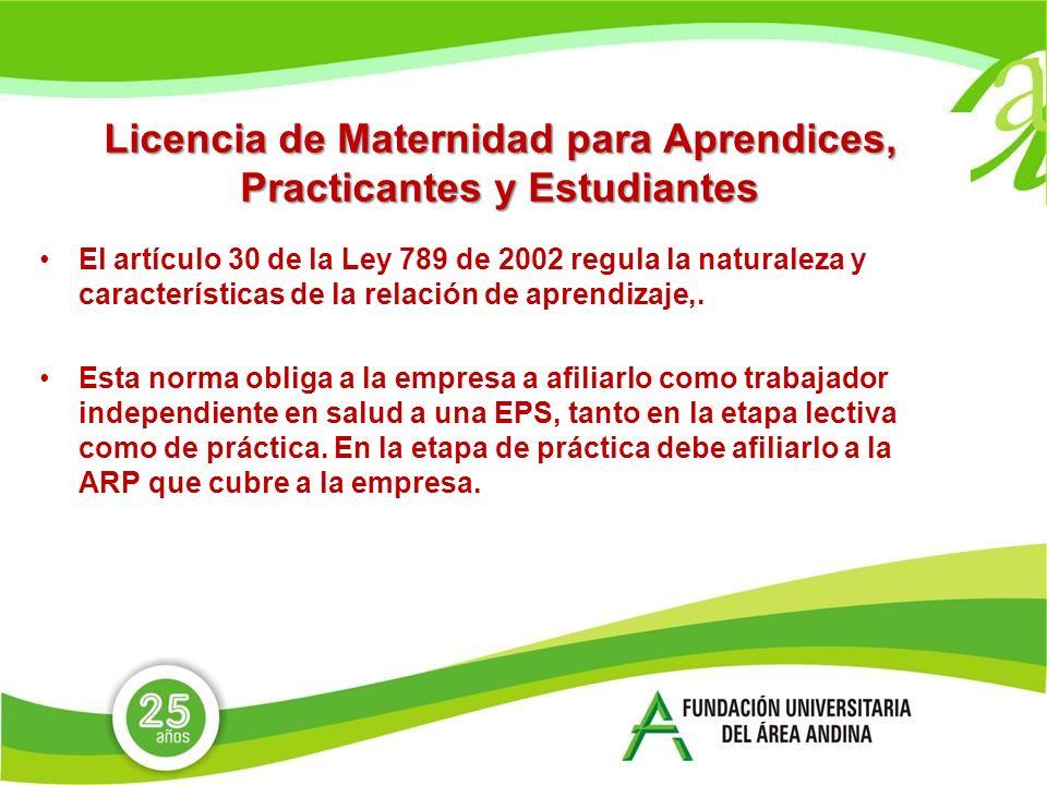 Licencia de Maternidad para Aprendices, Practicantes y Estudiantes