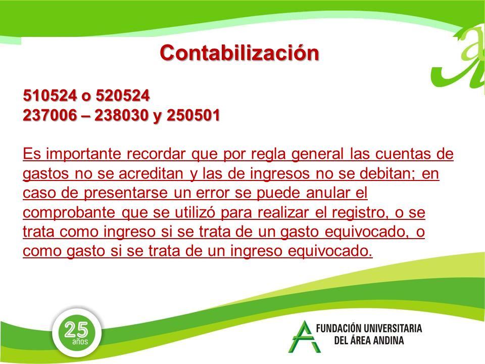 Contabilización 510524 o 520524. 237006 – 238030 y 250501.