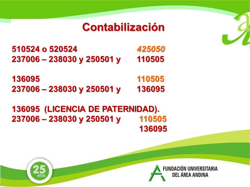 Contabilización 510524 o 520524 425050. 237006 – 238030 y 250501 y 110505. 136095 110505.