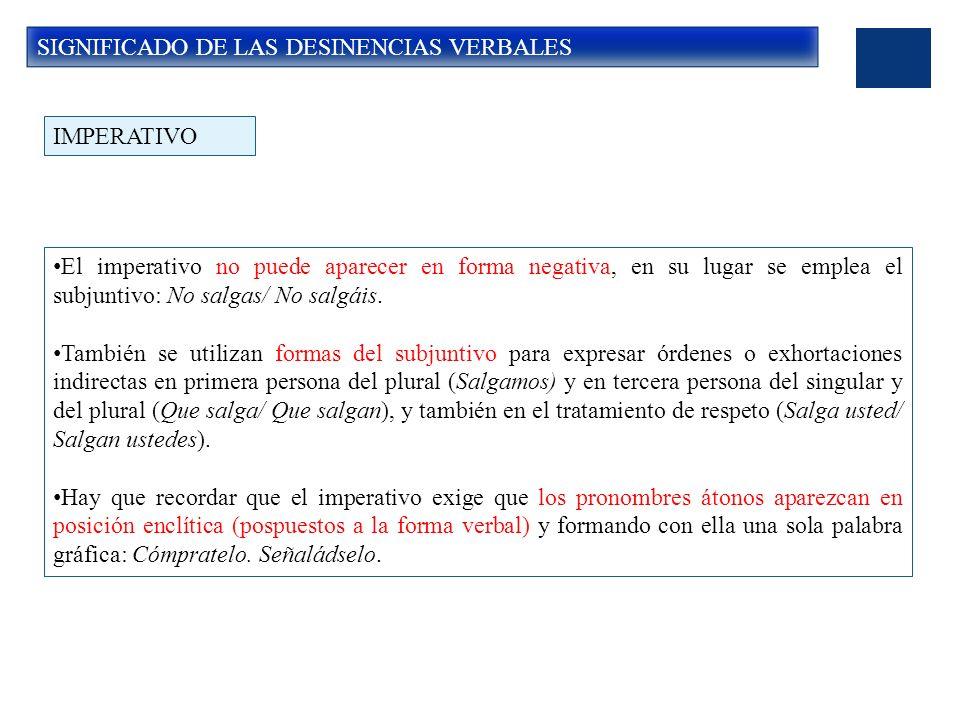 SIGNIFICADO DE LAS DESINENCIAS VERBALES