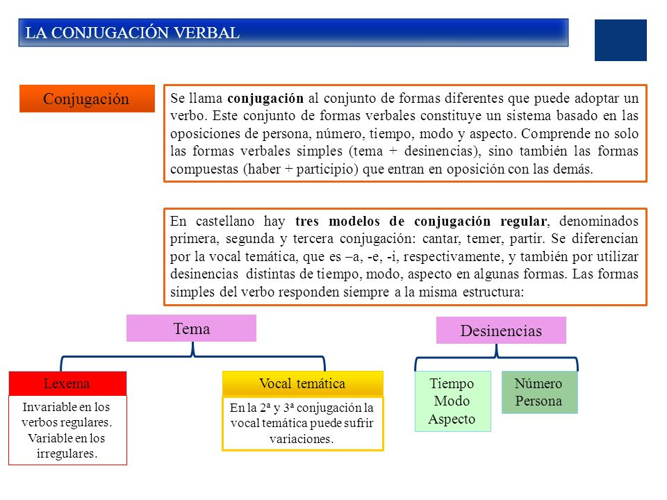 LA CONJUGACIÓN VERBAL Conjugación Tema Desinencias