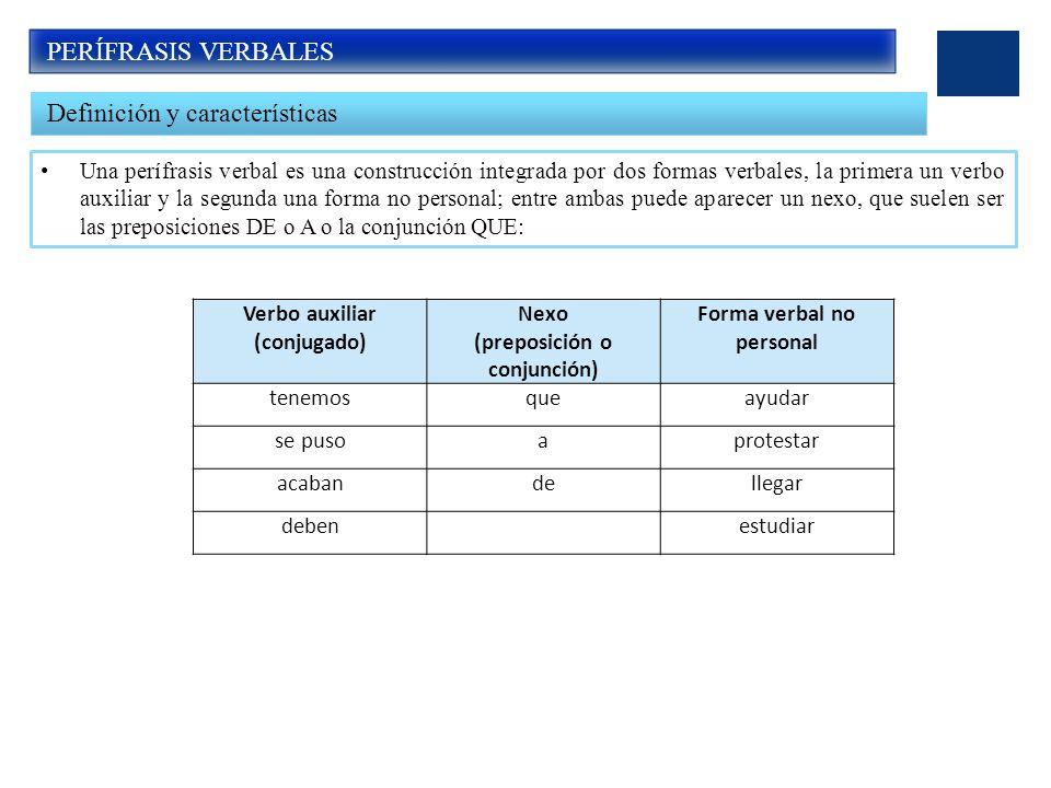 (preposición o conjunción) Forma verbal no personal