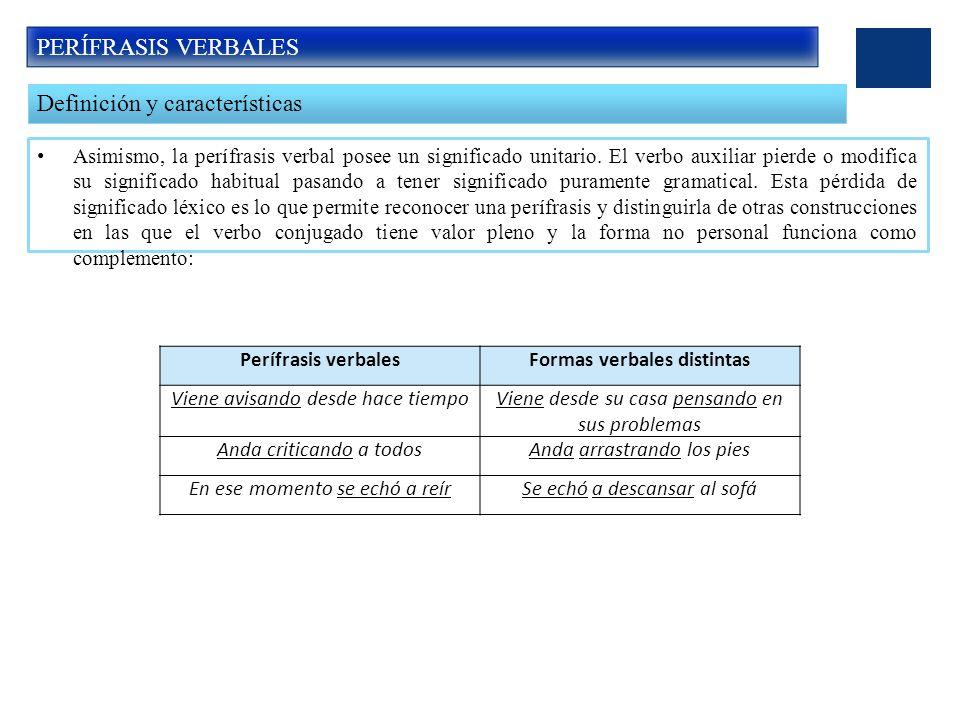 Formas verbales distintas