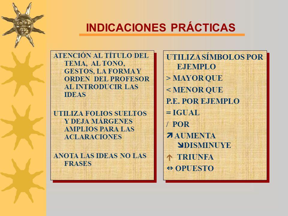 INDICACIONES PRÁCTICAS