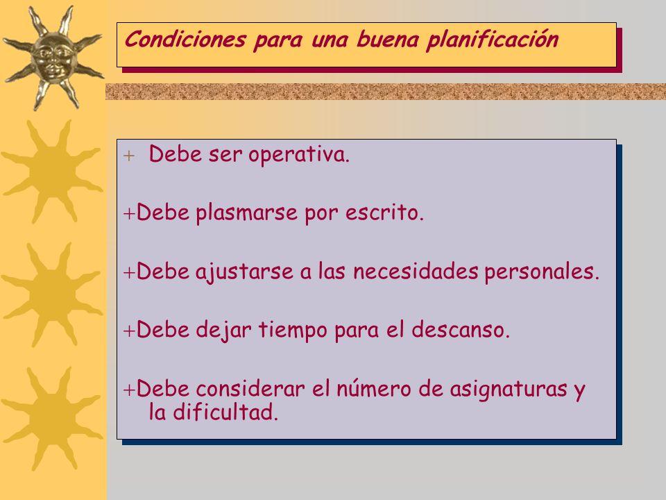 Condiciones para una buena planificación