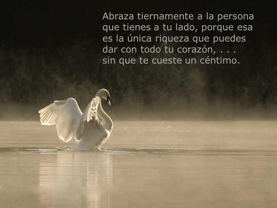 Abraza tiernamente a la persona que tienes a tu lado, porque esa es la única riqueza que puedes dar con todo tu corazón, . . .