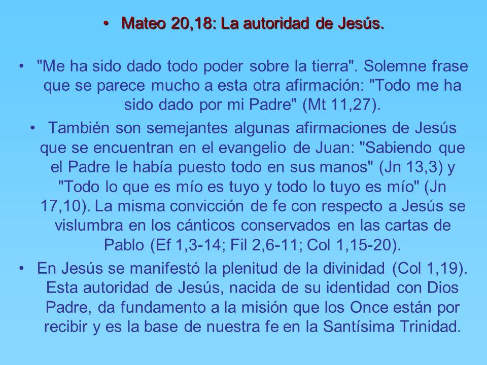 Mateo 20,18: La autoridad de Jesús.