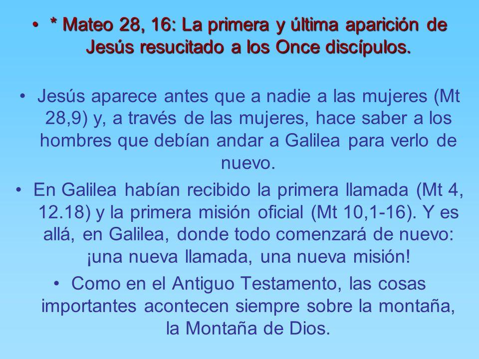 * Mateo 28, 16: La primera y última aparición de Jesús resucitado a los Once discípulos.