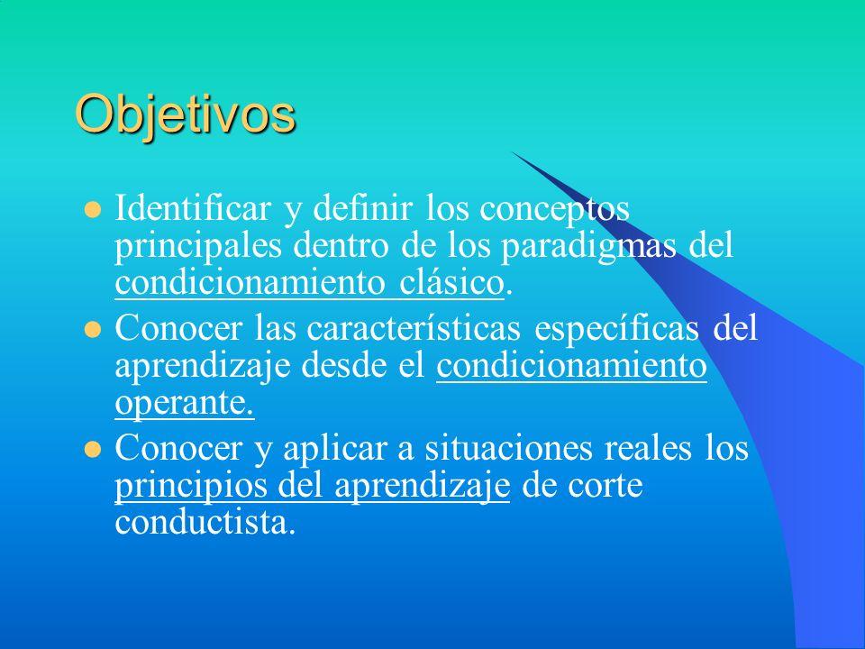 Objetivos Identificar y definir los conceptos principales dentro de los paradigmas del condicionamiento clásico.