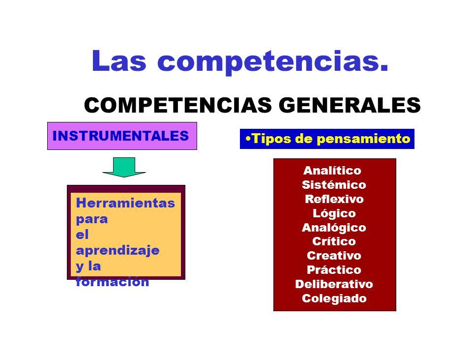 Las competencias. COMPETENCIAS GENERALES INSTRUMENTALES